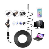 3-in-1 7 mm 6LED stijve waterdichte USB Type C Borescope inspectiecamera 1/2 / 3.5 / 5M / 10M