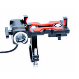 PROMEND Aluminium Alloy Phone Holder With Bike Headlight 4.5-6.4inch Phone Clip Stand For Cycling