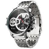 WEIDE UV1702 Kalender Zona Waktu Ganda Pria Jam Tangan Stainless Steel Band Quartz Perhiasan