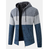 Heren colorblock wol breien dik warm hoodiejack met lange mouwen
