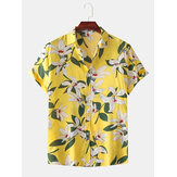 Homens Cor Bloco Lírio Imprimir Turn Down Collar Havaí Férias Casual Camisas de manga curta