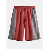 Pantalones cortos de cintura elástica 100% algodón patchwork para hombre