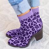 Büyük Beden Kadın Nefes Alabilir Örme Kumaş Leopar Tıknaz Topuk Kısa Botlar