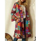 Women Tribal Print Colorblock Lapel Ethnic Style Jacket With Pocket