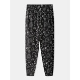 Mens Graffiti Print Elastic Waist Home Casual Jogger Pants With Pocket