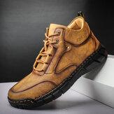 Botas masculinas com costura em microfibra de couro Soft com costura à mão