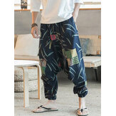 Mens Ethnic Pattern Printe Floral Harem Yoga Baggy Pants