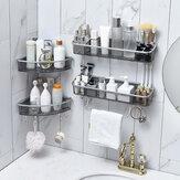 Bathroom Triangular Shower Shelf  Corner Bath Storage Holder Rack With Hooker