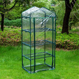 69 x 49 x 160cm Outdoor 4-Tier Mini Greenhouse Zipper PVC Green House with Shelves Plant with Shelves