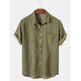 Banggood Designed Mens Corduroy Solid Turn Down Collar Short Sleeve Shirts