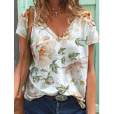 Floral Print V-Neck Short Sleeve Casual T-Shirts For Women