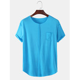 Mens Solid Color Chest Pocket Short Sleeve Sport T-Shirts