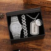 Conjunto de relógios masculinos de 3 unidades com pulseira de aço de diamante embutido, colar de relógio de quartzo e kit de presente de joias