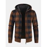 Erkek Vintage Ekose Sıcak Fermuar Sıcak Kapşonlu Triko Ceket