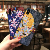 MEKS Fashion Chinoiserie Flower and Moon Pattern 3D Embossed TPU Protective Case for iPhone X/XS / XR / XS Max / 6/7/8 / 6S Plus/6 Plus/7 Plus/8 Plus