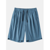 Mens Casual 100% Cotton Breathable Pockets Drawstring Fit Comfy Shorts
