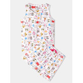 Plus Size Women Funny Cartoon Print Home Sleeveless Softies Vest Pajama Set