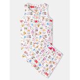 Plus Size Damen Lustiger Cartoon Print Home Ärmellose Softies Weste Pyjama Set