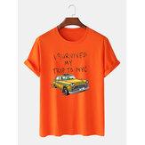 100% Baumwolle Mens Funny Cartoon Auto Muster Skript Print Basic T-Shirts