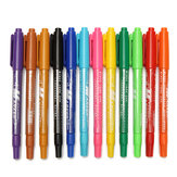 12Pcs Marker Oil Pens Colorful Set Art Twin Tip Permanent Waterproof Fine Point For Drawing Design Art Marker Supplies