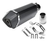 Tubo silenziatore di scarico modificato per moto nero in fibra di carbonio nero 36-51mm