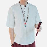 T-shirt de linho da cor sólida do estilo chinês do vintage dos homens