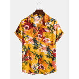 Mens Oil Painting Floral Printed Holiday Chest Pocket Short Sleeve Lapel Colalr Shirts