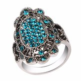 Vintage Colorful Crystal Hollow Alloy Oval Geometric Rings