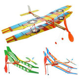 DIY Hand Throw Flying Plane Toy Elastic Rubber Band Powered Airplane Assembly Model Toys