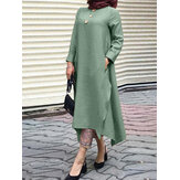 Solid Color Button Decoration Irregular Hem Casual Muslim Maxi Dress with Side Pockets