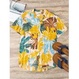 Мужской цвет блока с принтом отложным воротником на Гавайях Пляжный Повседневные рубашки с коротким рукавом