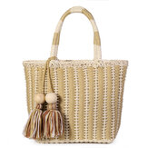 Summer Straw Shoulder Bag Tassel Bag Top Handle Satchel Handbag