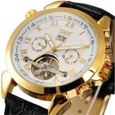 JARAGARF120504ModeAutomatiqueMécaniqueMontre Date Affichage Bracelet en cuir Homme Montre bracelet