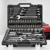 CREST 82Pcs Ratchet Dopsleutel Reparatie Gereedschap Set Auto Reparatie Machine met Plastic Toolbox