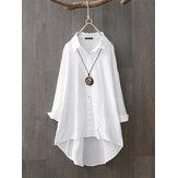 Chemises solides décontractées à revers lâche 100% coton pour femmes
