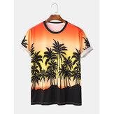 Jay Chou Mojito Same Style Gradient Color Coconut Tree Print Crew Neck Short Sleeve Hawaii Beach T-Shirts
