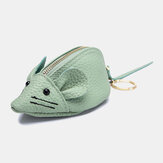 Women Genuine Leather Casual Cute Animal Mouse Pattern Mini Keychain Coin Bag Storage Bag