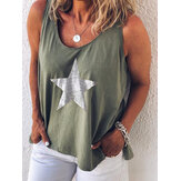 Star Printed O-neck Casual Tank Tops