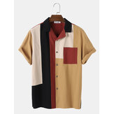 Mens Casual 100% Cotton Patchwork Short Sleeve Shirts