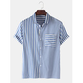 Mens Casual Striped Design Pocket Camisas de algodão de manga curta