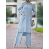 Women Solid Color Split Hem Front Pockets Casual Loose Two-Piece Set Kaftan Tunic