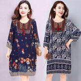 Season New Women's National Wind Cotton Silk Embroidery Holiday Travel Dress Long Dress