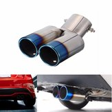 Universal Grilled Blue Curved Tail Muffler Exhaust Pipe Double Twin Tip for KIA Ford Honda