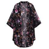 Bohemio Mujer blusa de gasa con estampado floral de gasa pura