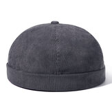 Mens Womens Winter Corduroy Adjustable French Brimless Hats Fashion Skullcap Sailor Cap