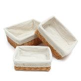 Brown Vintage Wicker Storage Basket Algodão Liner Rectangle Woven Basket 3 Tamanhos