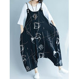 Casual Loose Art Print Black Spaghetti Strap Baggy Jumpsuit