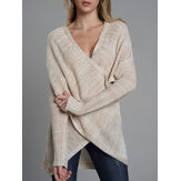 Unregelmäßige Cross Hollow Knit Lässige Pullover