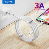 TOPK 3A Magnetic Automatically Retractable Micro USB Type C Fast Charging Cable for Samsung S20 NOTE20 MI10 Note 9S OnePlus 8Pro