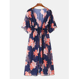 Women Floral Print Drawstring Lightweight Cover-Ups